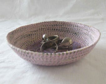 Pale pink ring dish, ring bowl, key bowl, trinket dish, cord dish, coiled yarn bowl, coiled bowl, coiled basket, pink dish, pink bowl purple