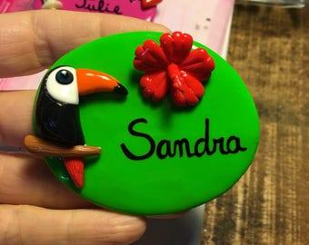 Nurse badge personalized toucan