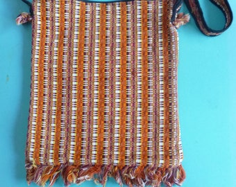 Hnad woven Cotton Boho Shoulder Bag Made in Guatemala 80's