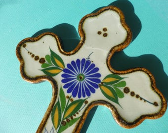 Vintage Ceramic Cross Folk Art Wall Hanging with Blue Daisy and Dove Design Made in Mexico