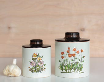 Vintage Ransburg Metal Kitchen Canisters with Plastic Lid - set of 2 (Pair)