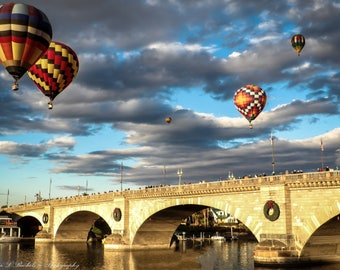 "Wall Art ""Morning Ascension"", Hot air balloon, balloon festival, Lake Havasu, London Bridge"