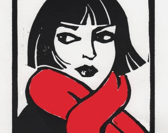 Girl Wearing a Red Scarf, Linocut with Red Watercolor, Signed, 4 x5""