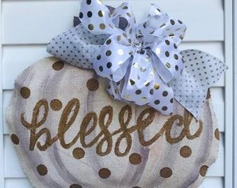 Blessed Gold Polka Dot Pumpkin Burlap Door Hanger