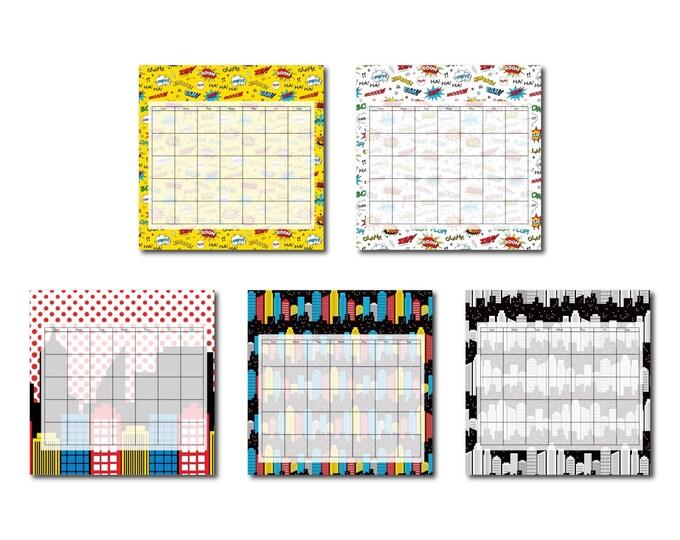 Superhero Perpetual Calendar - Classroom Schedule - 2018 Calendar - Cubicle Decor - Fridge Calendar - Family Organization - Laminated