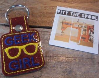 Geek Girl Nerd Key Chain