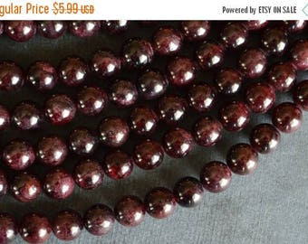 SUPER SALE 8mm Garnet Stone Beads, Deep Red Gemstone Beads, Round Smooth Garnet Beads 10 Beads, Deep Red Stone Beads