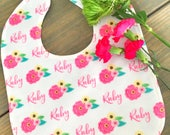Personalized baby bib with Spring Floral, custom bib with name, baby girl bib, baby shower gift
