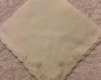 Vintage Floral Eyelet Handkerchief