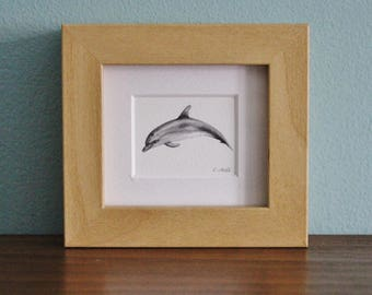 Dolphin Watercolour Painting - Mammal - Framed Giclee print - Nature Art - Picture and gift for the home - Mini Frame - Ocean Collection