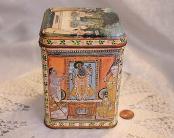 Vintage Ancient Look, Grecian Style, Tea Tin, Collectible Tin Very colorful