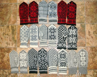 Nordic Mittens Hand Knitted Wool Mittens Norwegian Mittens Scandinavian Gloves Warm Winter Gloves Patterned Wool Mittens Knitted Wool Gloves