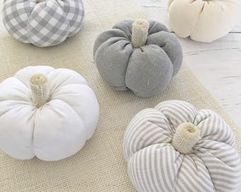 Fabric Pumpkins, Mini Pumpkins, White Pumpkins, Autumn Decor, Fall Decorations, Halloween, White Pumpkin Decor, Thanksgiving Table Decor