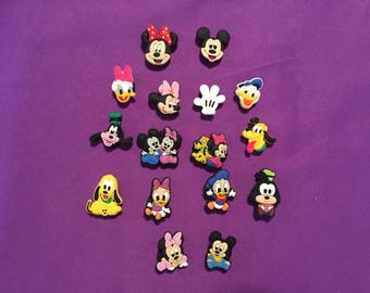 8-pc Mickey Mouse Clubhouse Shoe Charms for Crocs, Silicone Bracelet Charms, Party Favors, Jibbitz