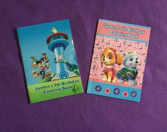 12 Personalized Paw Patrol Coloring Books / with Crayons , Skye and Everest (Girly theme), Party Favors
