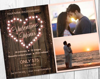 Valentine mini session template - Valentine mini session - Photography marketing board - Facebook timeline - Photoshop template