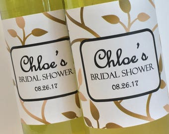 Custom Mini Wine Bottle Labels, Gold and white labels for bridal shower favors or Wedding favors, mini champagne labels