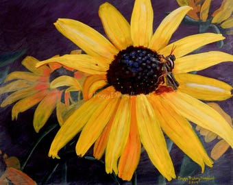 Black-Eyed Susan, Grasshopper, Insect on Flower, Art, Wall Art, Prints, Flower, Nature Scenes, State Park, Yellow Art, Peggy Delery Pospisil