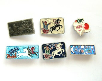 New Year,  Pick your pin, Vintage metal children's badge, Christmas, Xmas, Horse, Troyka, Winter, Soviet Vintage Pin, Made in USSR, 1980s