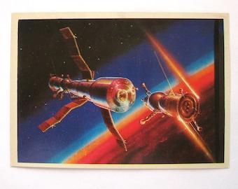 Space, Rendezvous, Unused Postcard, Painting, Sokolov, Illustration, Unsigned, Rare Soviet Vintage Postcard, USSR, 1980, 1980s