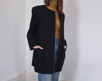 Vintage Collarless Black Linen Minimal Button Down Blazer Jacket, Size 12