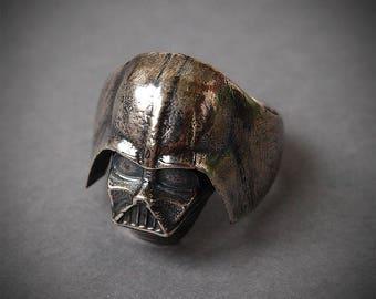 Darth Vader ring, Star wars, Star wars ring, Star wars jewelry, Darth Vader mask, Silver plated brass ring, Metal ring, Men rings, Size 7,5