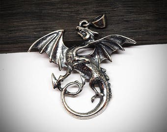 Dragon necklace, Dragon pendant, Dragon jewelry, Fantasy necklace, Fantasy pendant, Dragons, Fashion pendant, Modern necklace, Fantasy