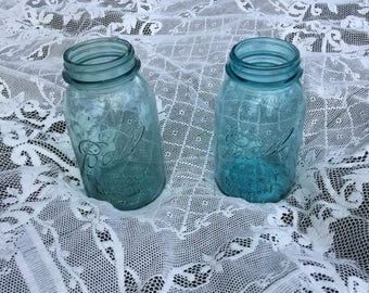 Two Vintage Blue Mason Jars - Quart Size