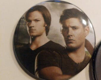 Supernatural Sam And Dean Pocket Compact Mirror 2 1/4 round button Makeup Mirror