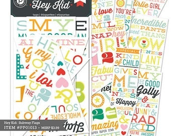 """Hey Kids"" collection - Pink Paislee tags labels"