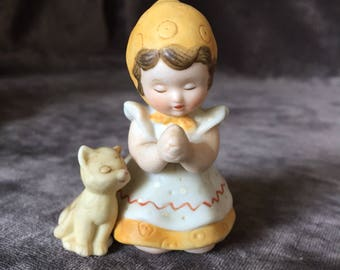 Vintage little girl with cat Gretchen figurine