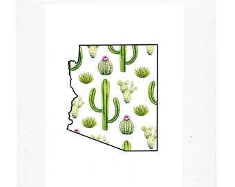 Arizona Watercolor Cactus Pattern Print - Pink or White Background