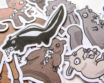 Rabid Woodland Critters Stickers, Paper Stickers, Journaling, Sticker Flakes, Cute Animals, Stationery, Scrapbooking, Crazy Squirrel