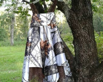 Beauiful handkerchief dress Made with Mossy Oak White Satin fabric #4 in fabric selection. 22 camo colors