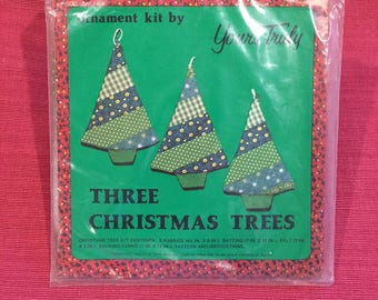 Yours Truly Three Christmas Trees Fabric Ornament Kit