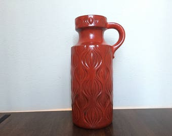 "Scheurich XXL 485  -  45  ,,Amsterdam "" vintage ,, Onion decor""  Mid Century Modern handled Floor-vase 1970s West Germany."