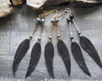 Feather earrings. Black earrings. Long drop earrings. Leather earrings. Dangle earrings. Snowflake obsidian earrings. Boho earrings.