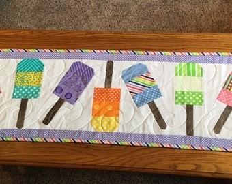 Popsicle Table Runner-Summer Time Table Runner-Picnic Table Runner- Polka Dot Table Runner-Handmade Quilted Table Runner 10 1/2 X 35