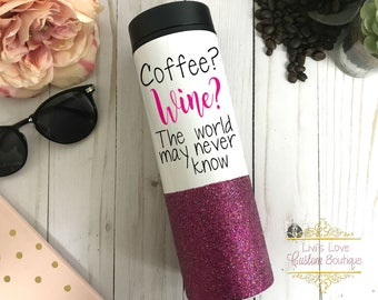 Coffee? Wine? The world may never know Luxury Coffee Mug Glitter Dipped To Go Mug 16 oz Stainless Steel Travel Mug Cup Metal Coffee Tumbler