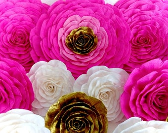 10 large giant paper flowers Backdrop Nursery pink white Birthday CANDY BUFFET kate bridal spade shower Wall decor Wedding Baby Hen Party