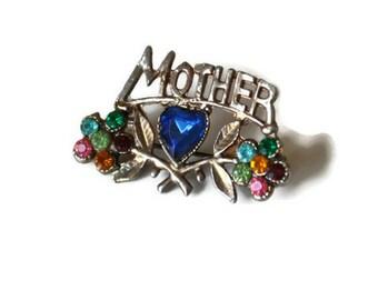 1940's/50's Mother Brooch // Vintage Silver Tone Mothers Day Brooch // Retro Rhinestone Brooch // Sweetheart Brooch