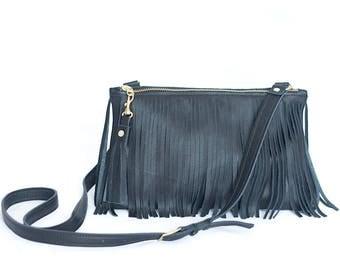Black Leather Crossbody - Fringe Purse - Leather Boho Bag - Black Leather Fringe & Tassel Handbag