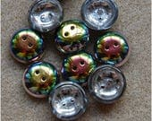 CUP BUTTON Beads, 14mm, Crystal Vitrail, 03000/28101, sold in units of 10 beads.