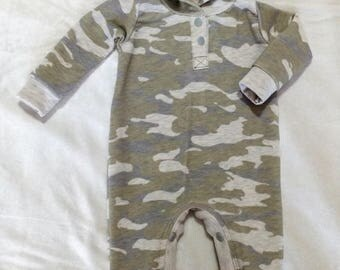 Olive and Grey Camo French Terry Newborn Hooded Romper