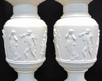 Antique Ayners Pair of Large Grecian Urns
