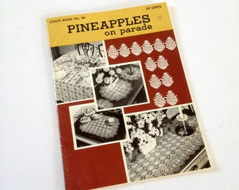Crochet Pattern Book, Pineapples On Parade, vintage Lace Doilies Tablecloth, Buffet, Chair, Luncheon Sets