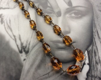 Vintage Art Deco Amber Glass Necklace