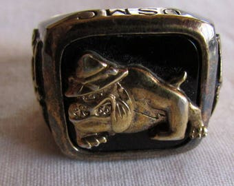 USMC Onyx and Silver Ring Size 10 1/2