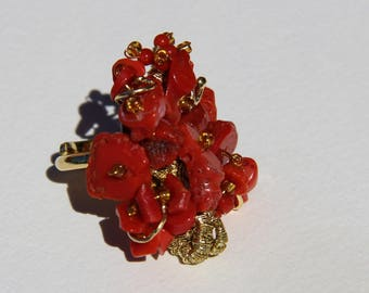 coral from Corsica on hand made vermeil ring