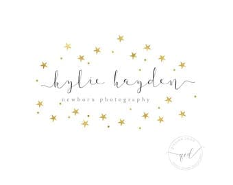 Premade logo design branding with gold star, photography logo, boutique logo, beauty logo, delicate and sweet logo, for small business